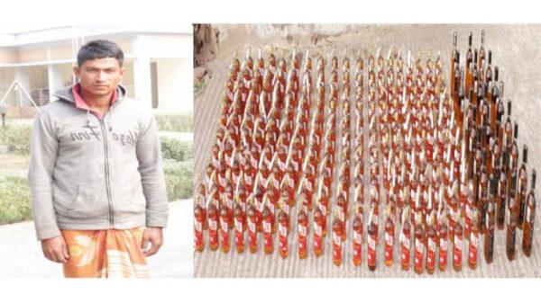 সিলেটে বিপুল পরিমাণ বিদেশী মদসহ যুবক গ্রেফতার